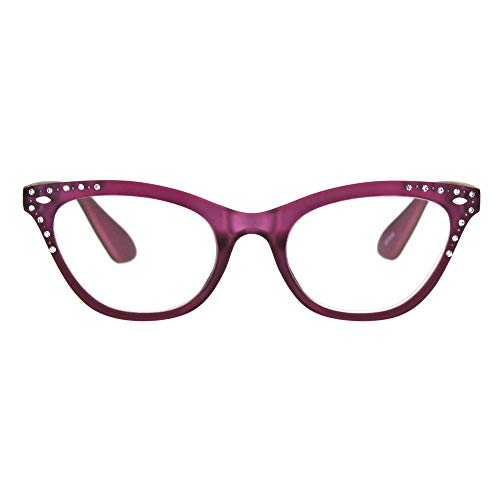 (Womens Bling Rhinestone Plastic Cat Eye Horn Rim Powered Reading Glasses Burgundy 4.0)