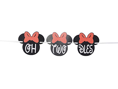OrangeDolly OH Two -DLES! Banner | 2nd Minnie Mouse Party Supplies | Minnie Mouse Birthday Banner | Minnie Birthday Decorations (Red Bow)