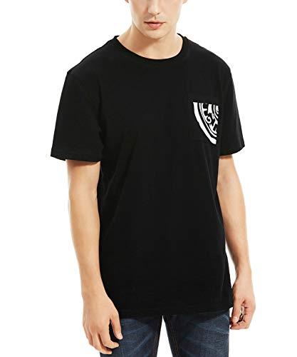 100% Cotton Heavyweight Tee (Men's Heavyweight 100% Cotton Short Sleeve Pocket T-Shirt Simple Casual Daily Essential Clothing Deep Black)