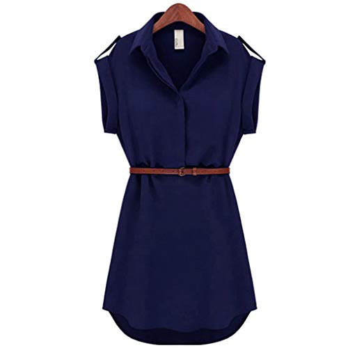 Dovaly Women Sexy Plus Size Summer Fashion Dresses Lapel Evening Party Solid Workwear Mini DressNew with Belt from Dovaly
