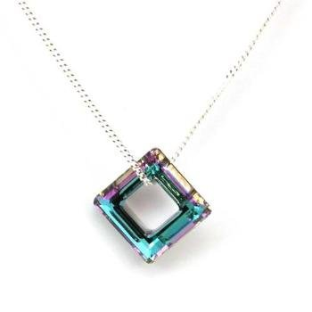 The Olivia Collection 14mm Cosmic Crystal Square Ring on 18 Inch Silver Chain