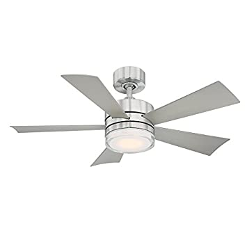 Modern Forms FR-W1801-42L-SS Wynd 42 Inch Five Blade Indoor Outdoor Smart Fan with Six Speed DC Motor and LED Light in Stainless Steel Finish Works with Nest, Ecobee, Google Home and IOS Android App,