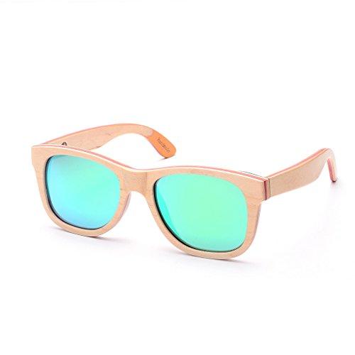 SKADINO Handmade Skateboard Wood Sunglasses with Green Mirror Polarized Lenses for Men or Women in a Wayfarer-S1064C05