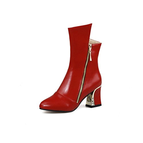 ZQ@QXNuestro código simple cremallera lateral con zapatos botas cortas de terciopelo grueso lacet gules
