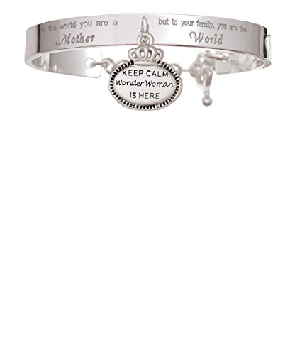 Keep Calm Wonder Woman is Here You Are A Mother Cuff Charm Bracelet (Wonder Woman Cuff Bracelet)