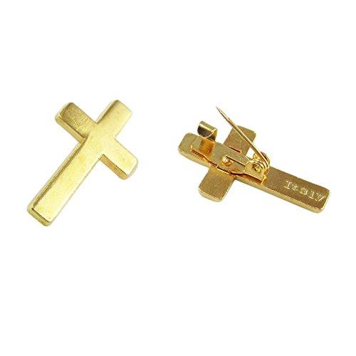 Glary 100pcs of Gold Tone Religious Christian Booches Cross Lapel Pin from Glary