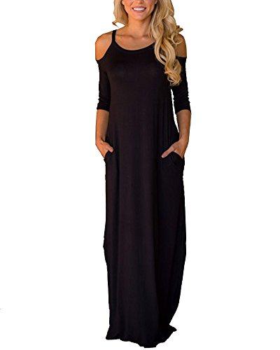 Huiyuzhi Womens Cold Shoulder 3/4 Sleeve Plain Long Maxi Casual Dress with Pockets