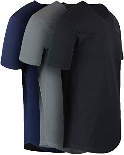 ShirtBANC Mens Hipster Hip Hop Long Drop Tail T Shirts (Black | Cool Gray | Navy, 2XL)