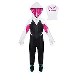 Agoky Kids Girls Toddler Spider Verse Miles Morales Gwen Jumpsuit Bodysuit Black Spider Tights Zentai Costume