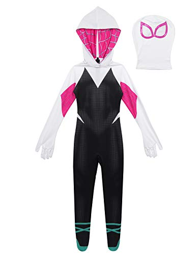 YiZYiF Kids Girls Spider Costume Halloween Unisex Full Body Spandex Jumpsuits Zentai Skin Tight with Detached Mask Black&Rose&White 8-10 -