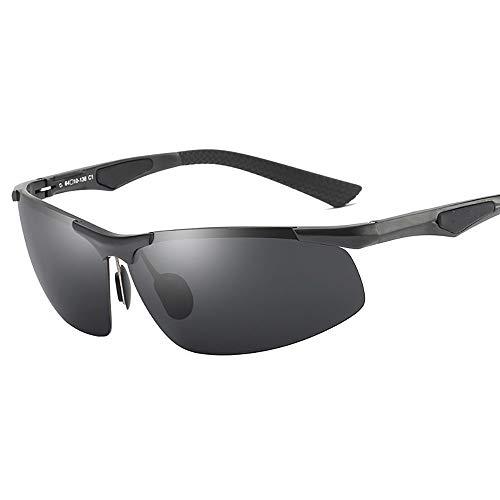WGDWGD Men's Polarized Sunglasses Half Frame Aluminum Magnesium Alloy Sport Driving Mirror Fishing Riding Glasses,Black ()