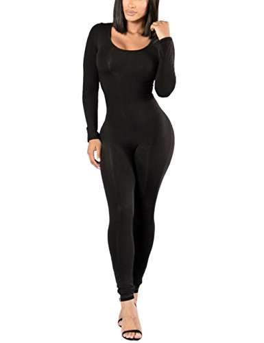XUGWLKJ Women's Long Sleeve One Piece Bodysuit Bodycon Clubwear Jumpsuits Romper  - Long Sleeve Short Sleeve Bodysuit