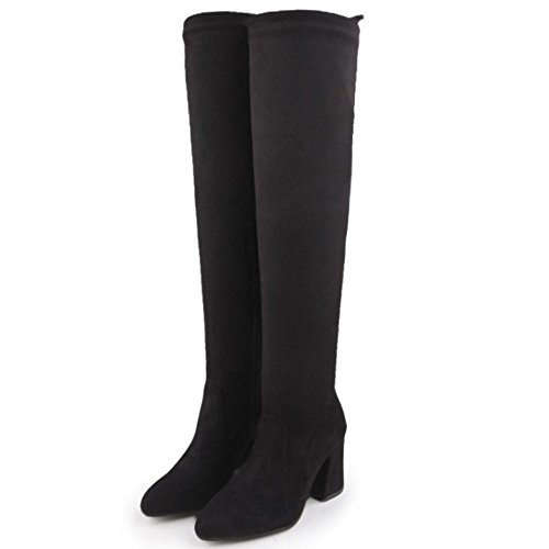 Taoffen Half Zipper Black With Boots Long Women's 4wFR48