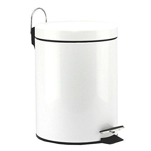 MEKBOK 5 Liter/1.3 Gallon Round Step Color Trash Can (WhiteII)