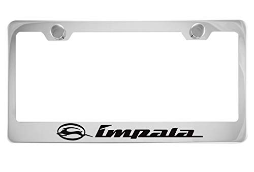 Chevy Impala Chrome License Plate Frame with Caps