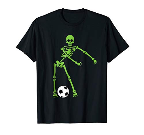 Green Skeleton Soccer Halloween Shirt Flossing Dance Costume -