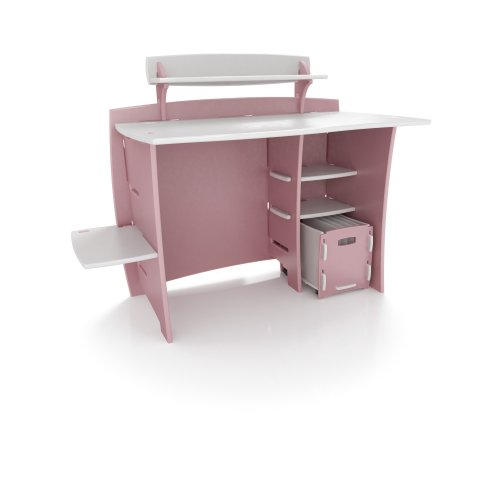 Legare 43-Inch Kids' Desk with File Cart, Pink/White by Legar