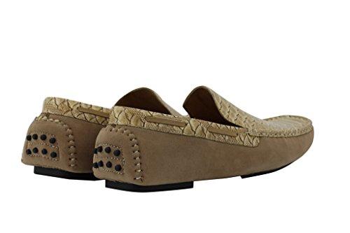brevetto Tan mocassino guida a serpente scarpe loafer antiscivolo pelle Suede Tan effetto Faux mensblue su qp1tSFx