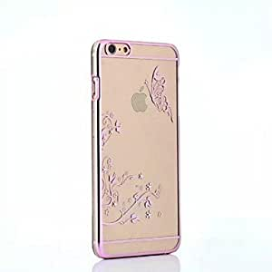 ZL High Quality Plated Pink Frame Butterfly Series PC Hard Case for iPhone 6 Plus(Assorted Colors) , Black