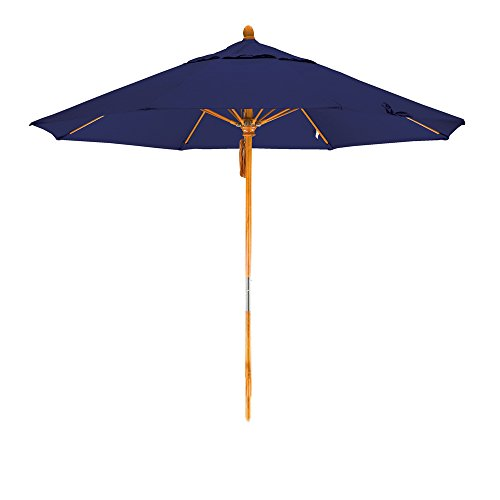 California Umbrella 9' Round Hardwood Pole Fiberglass Rib Market Umbrella, Stainless Steel Hardware, Pulley Lift, Sunbrella - Glass Navy Stained