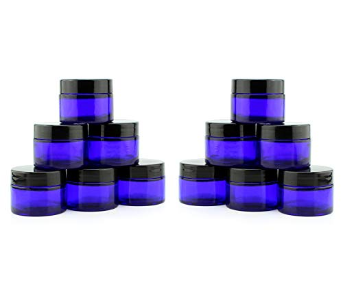 1-Ounce Cobalt Glass Jars (12-Pack); Straight-Sided Cosmetic Containers for Aromatherapy, Balms, Lotions