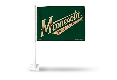 Rico NHL Minnesota Wild Car Flag, Dark Green, with White Pole by Rico