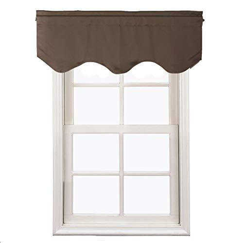 Velvet Window Valance - Aquazolax Blackout Window Valance Curtains for Living Room, Rod Pocket Top Scalloped Curtain Valances for Kitchen, 52