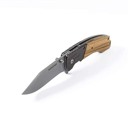 WORKPRO Folding Knife Zebra Wood Handle Survival Knife with Stainless Steel Blade for Outdoor, Tactical, Survival and EDC