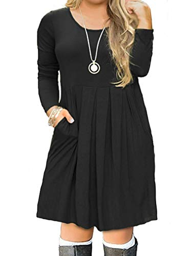 VISLILY Womens Plus Size Long Sleeve Pleated Swing Dress with Pockets XL-4XL