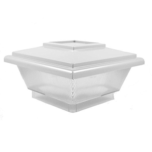 5 in. x 5 in. White Vinyl Classic Solar Post Cap by Weatherables