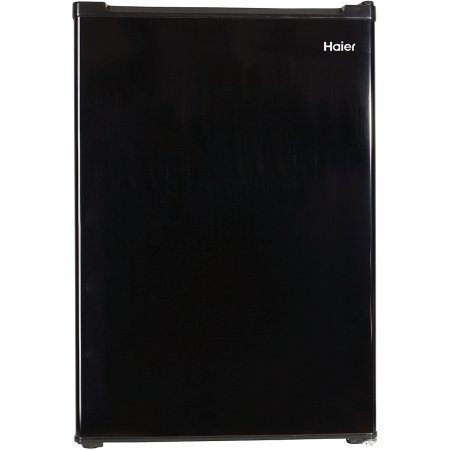 Haier 3.3 cu ft Refrigerator | 2 Interior Glass Shelves for Organization – Full-Width Freezer Compartment, Black