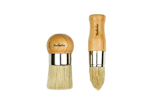 Featherline Series Pro Advanced Waxing and Chalked Paint Two Brush Set | 2 Inch Ball Brush and 1.5 Inch Bullet Brush | Use with All Brands of Chalked Paint