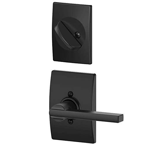 (Schlage F59 LAT 622 CEN Century Collection Latitude Handleset Entrance Lock Interior, Matte Black (Interior Half Only))