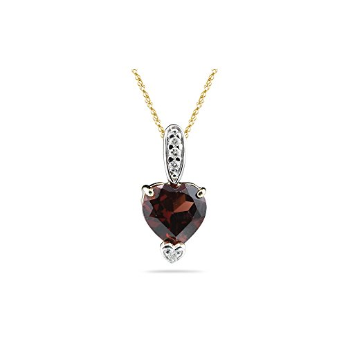 0.03 Cts Diamond & 1.36 Cts Garnet Heart Pendant in 14K Two Tone Gold ()