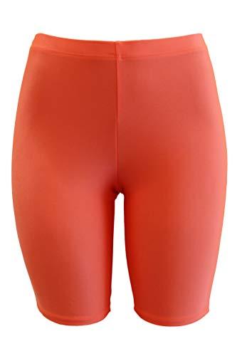 PnK Bike Shorts Women - Active Biker Yoga Shorts, Sexy Spandex Boyshort (NEON Orange, Large)