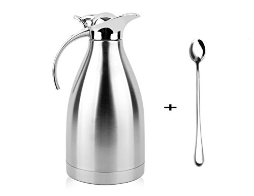 Thermal Coffee Carafe 68 Oz  2L Stainless Steel Double Walled Vacuum Thermos With Long Handles Ice Cream Spoons