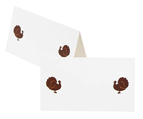- White Place Cards - 100-Pack Thanksgiving Small Tent Name Cards, Turkey Sketch Design, Table Setting Seat Assignment Decoration, for Lunch and Dinner Parties, 3.5 x 2 Inches