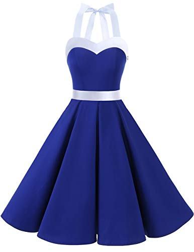 DRESSTELLS 50s Retro Halter Rockabilly Bridesmaid Audrey Dress Cocktail Dress RoyalBlue White M -