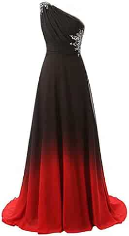 67865c6708b Preferhouse Women One Shoulder Party Gown Gradient Beaded Chiffon Prom  Dresses