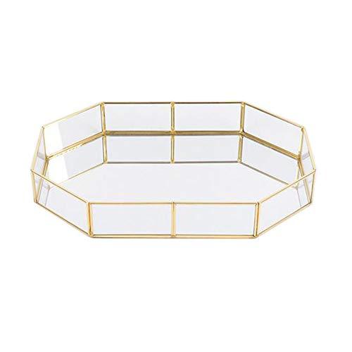 Pahdecor Vintage Makeup Jewelry Organizer Mirrored Glass Tray Handmade Home Decorative Metal Vanity Tray,Gold Leaf Finish (Small)
