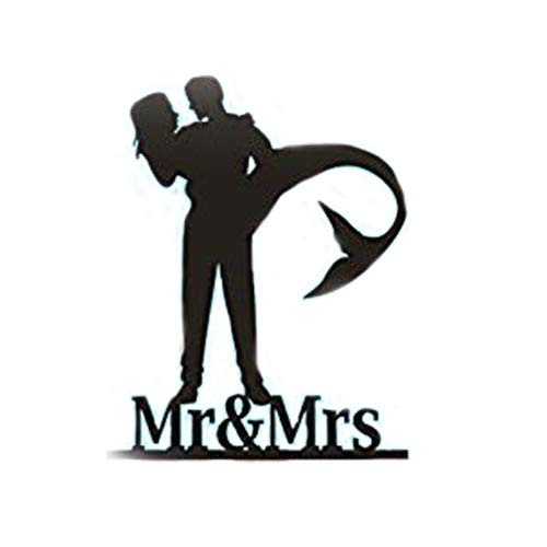 Personalized Wedding Cake Topper - Mermaid Wedding Cake Topper, Mermaid Bride silhouette with Mr & Mrs 。 (6 inches)
