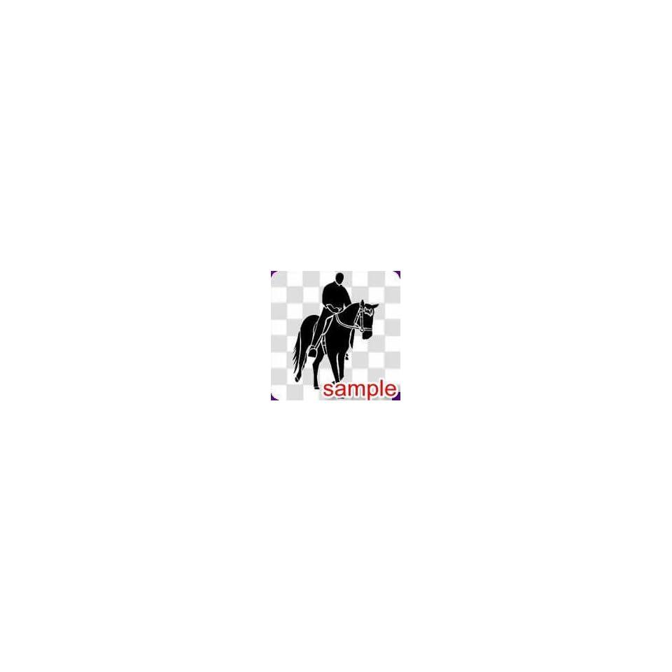 ANIMAL HORSE RIDER 1 WHITE VINYL DECAL STICKER