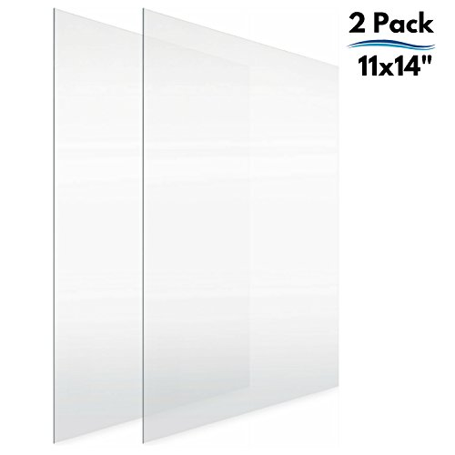 Icona Bay Plastic Sheets (11x14, 2 Pack), 0.03 Thick, Clear Plastic for Picture Frame Glass Replacement, DIY Projects