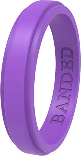 BANDED GLORY Silicone Wedding Ring for Men, Rubber Wedding Bands, Step Edge Design, Thin Purple 7 ()