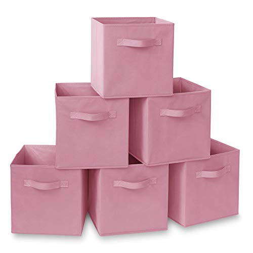 (Casafield Set of 6 Collapsible Fabric Cube Storage Bins, Light Pink - 11