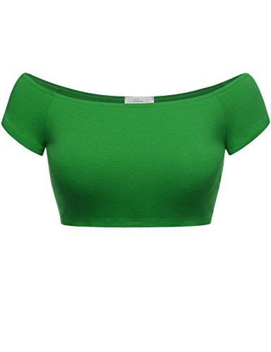 FPT Womens Basic Short Sleeve Off The Shoulder Crop Top KELLY GREEN MEDIUM