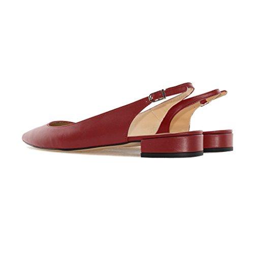 Burgundy 2CM donna Blocco Tacco Pumps Pointed Cinturino Slingback da 1 Scarpe Caviglia a Con Soireelady Alla Sandali Toe qC7RwT