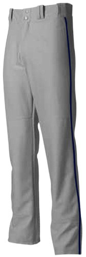 Youth Large Grey with Navy Blue Side Piping A4 Baseball/Softball Pants Pro Style Baggy with Side Color Piping