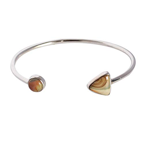 (Ravishing Impressions Beautiful Natural Wild Horse Jasper Gemstone Bangle, 925 Solid Sterling Silver, Bracelet for Wife, Women's Jewelry, Gift, Handmade, FSJ-3440)