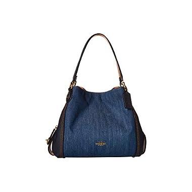 29fe935b833 COACH Women's Denim and Leather Blocked Edie 31 Shoulder Bag Medium  Denim/Brass One Size